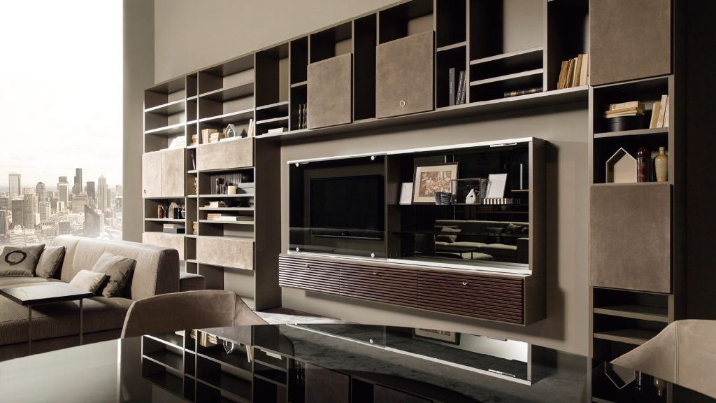 modular wall unit in contemporary style mondrian