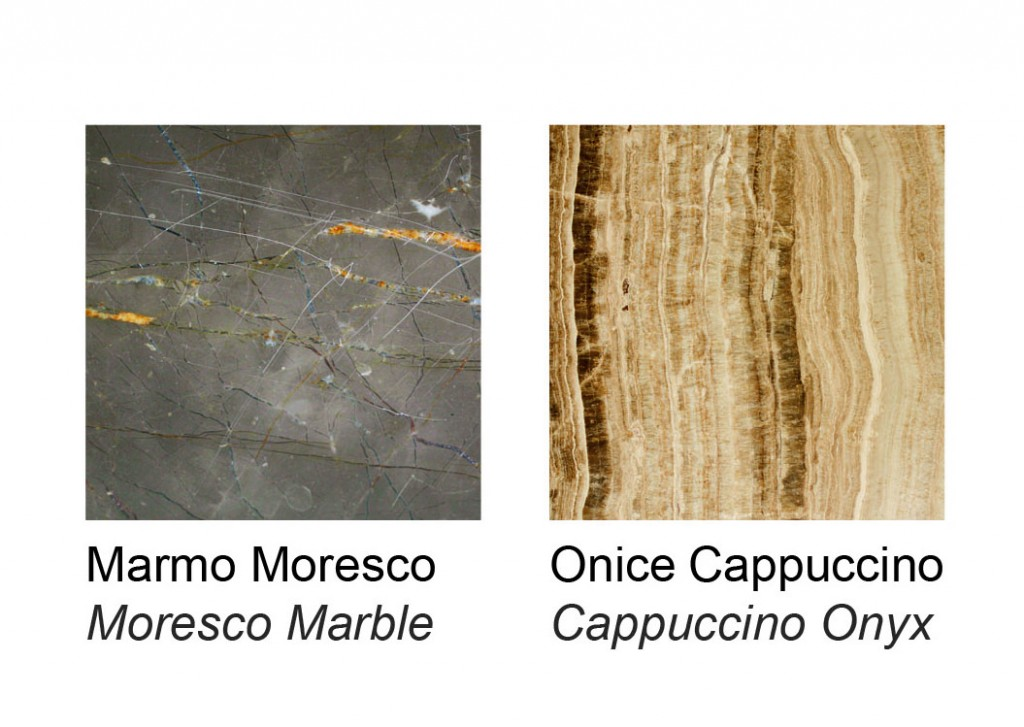"""with cappuccino coloured """"vein cut"""" onyx slabs and moorish marble"""