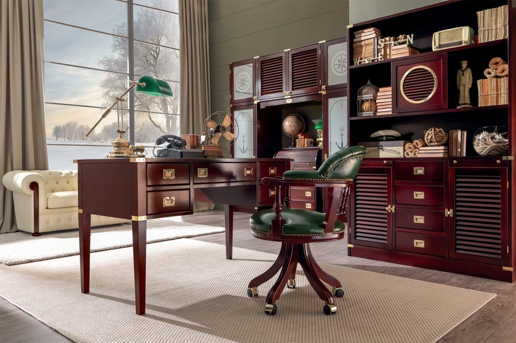 office with navy style furniture