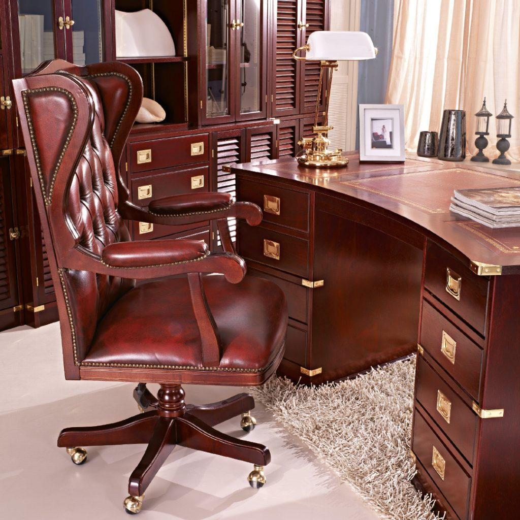 office with navy style furniture.