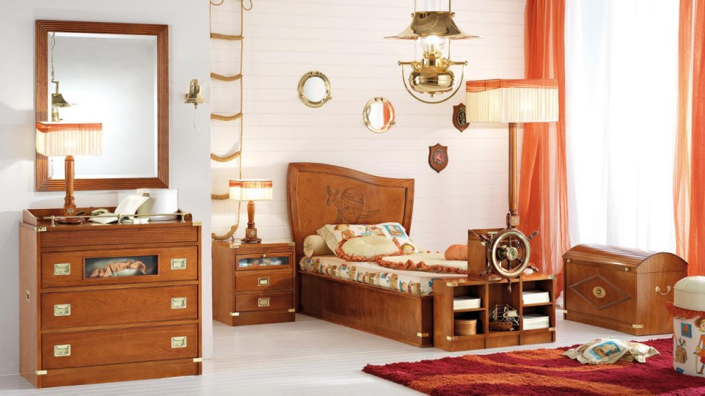 THE PIRATE'S BEDROOM, NATURAL MAHOGANY FINISH.