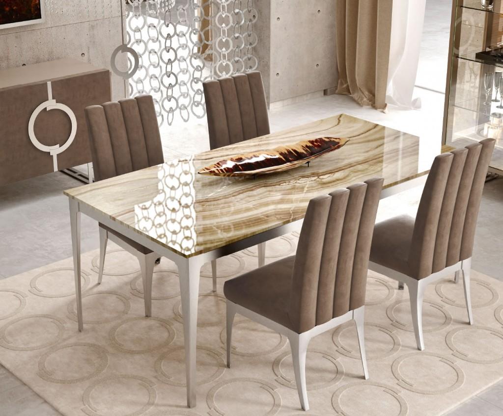 Tavolo Dolomite con base in acciaio satinato e piano in Onice Cappuccino