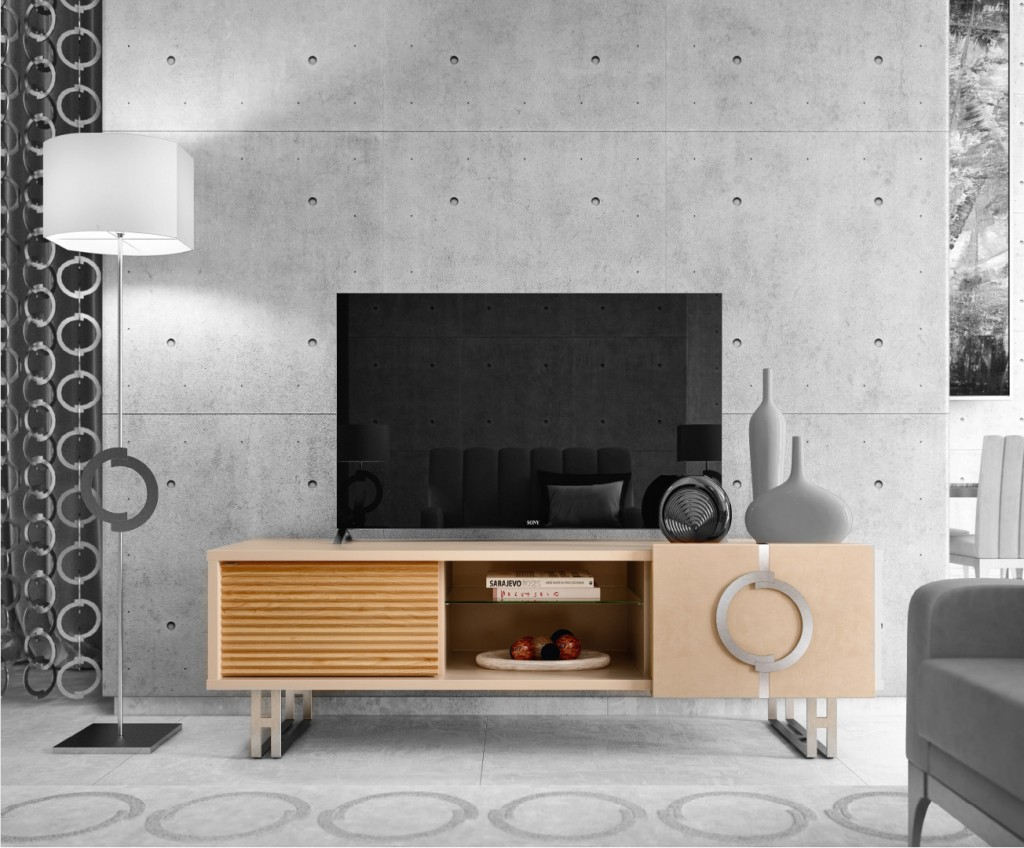 Desert Rose Lift TV unit. Concept by Caroti