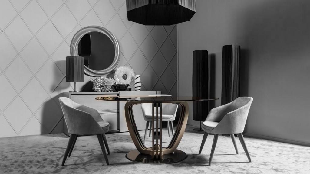Helix è il tavolo da pranzo rotondo per una sala da pranzo moderna