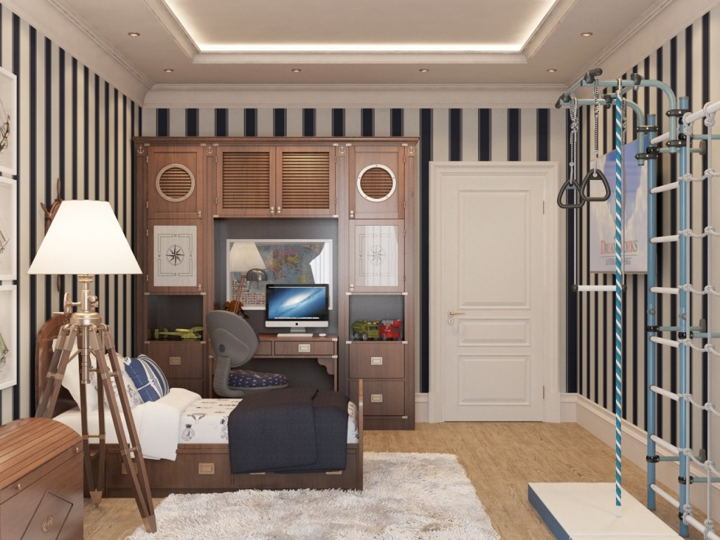 Kid bedroom with gym 02