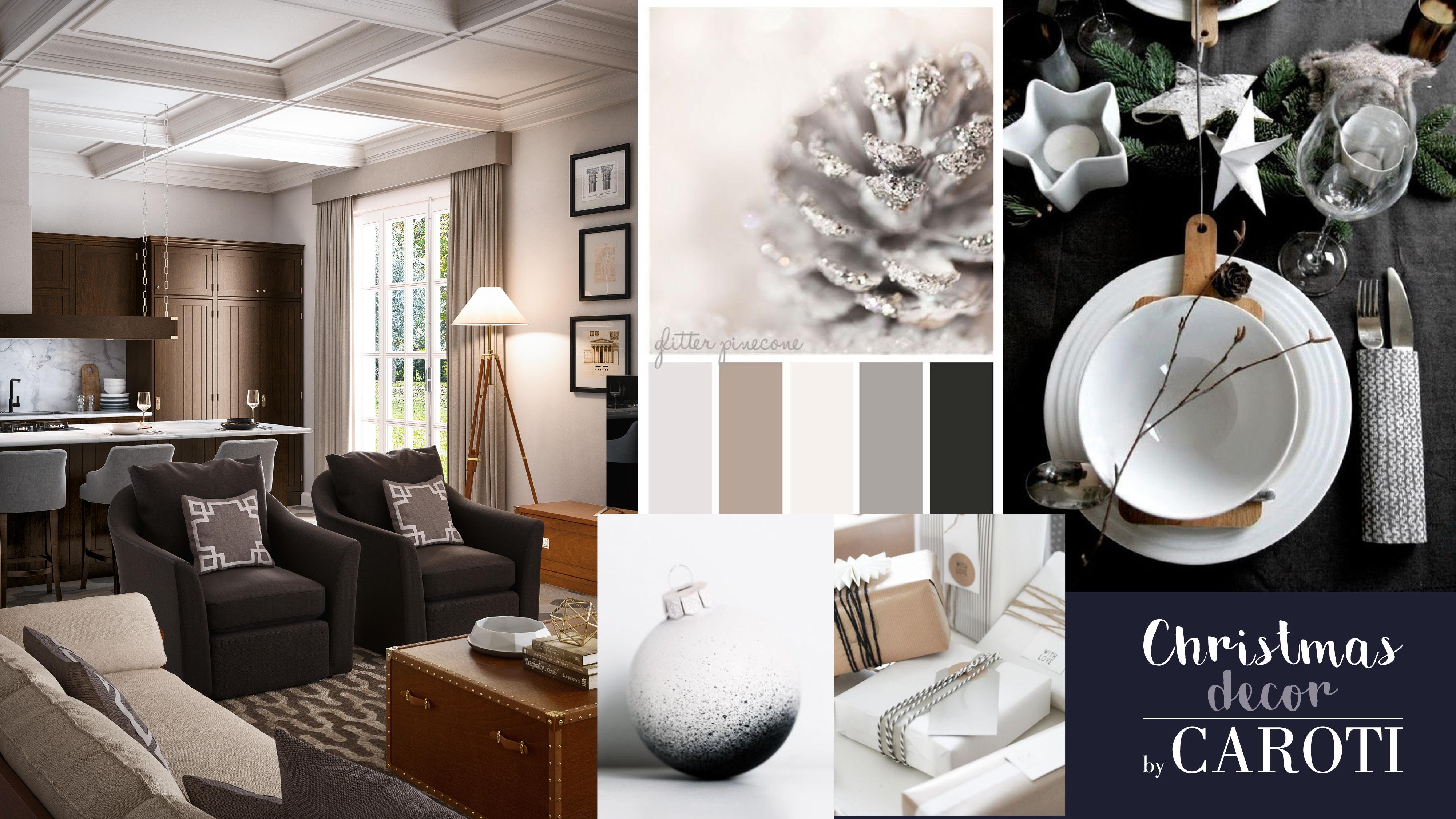 elegant christmas decor grey white silver taupe