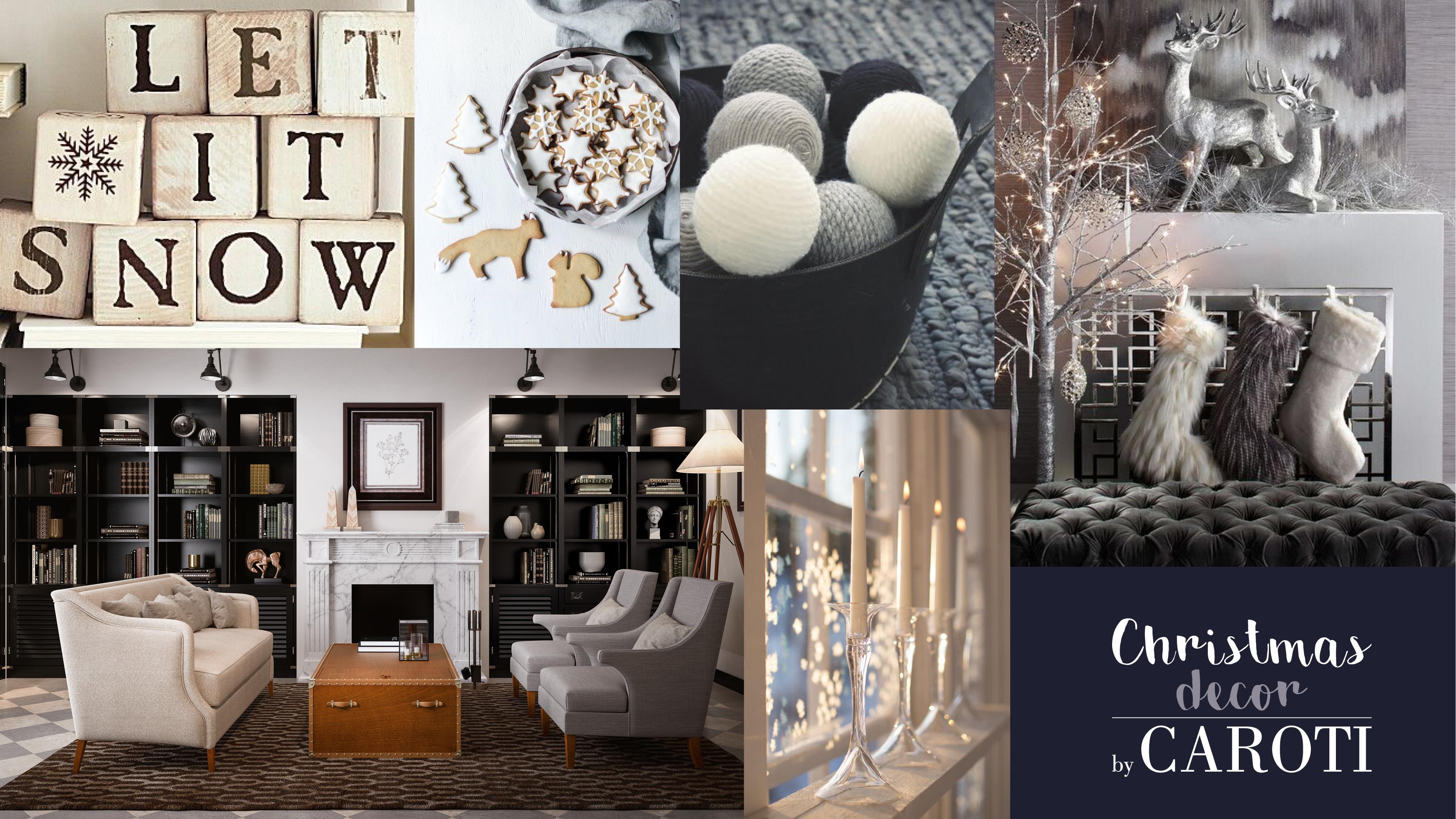 idee per decorare a natale in stile bonton black and white glam caroti