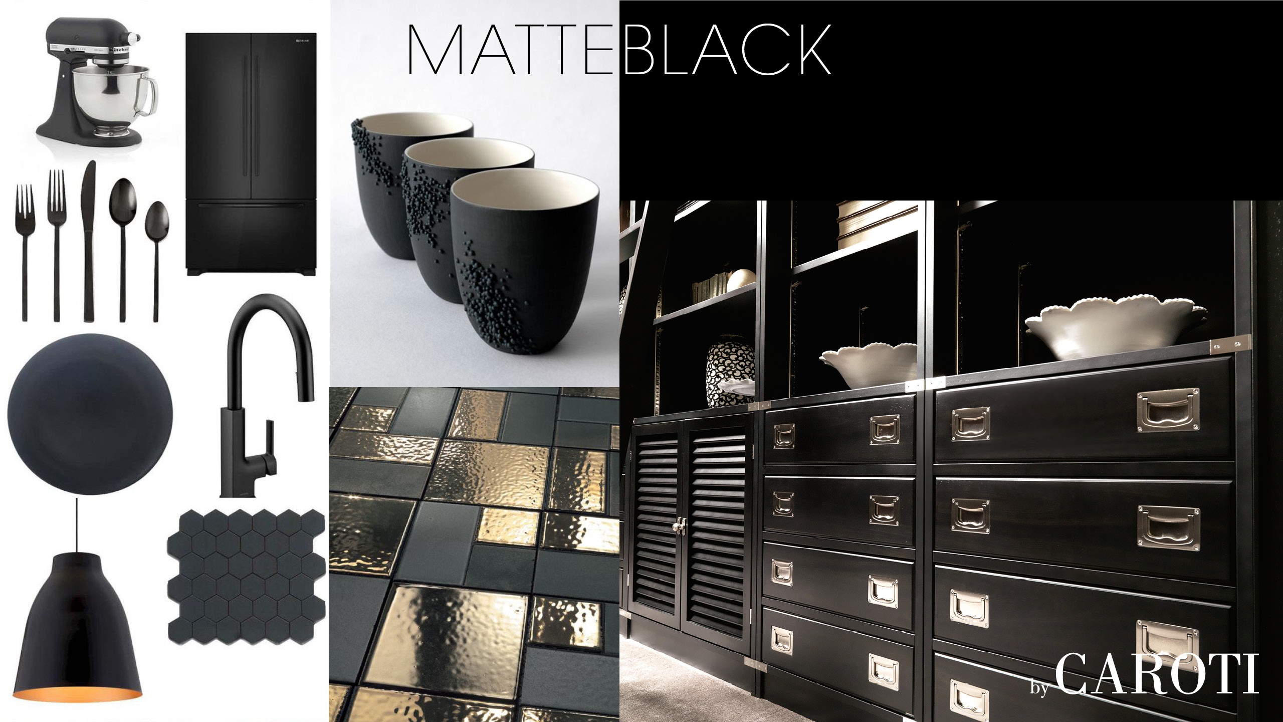 matt black luxury materic library