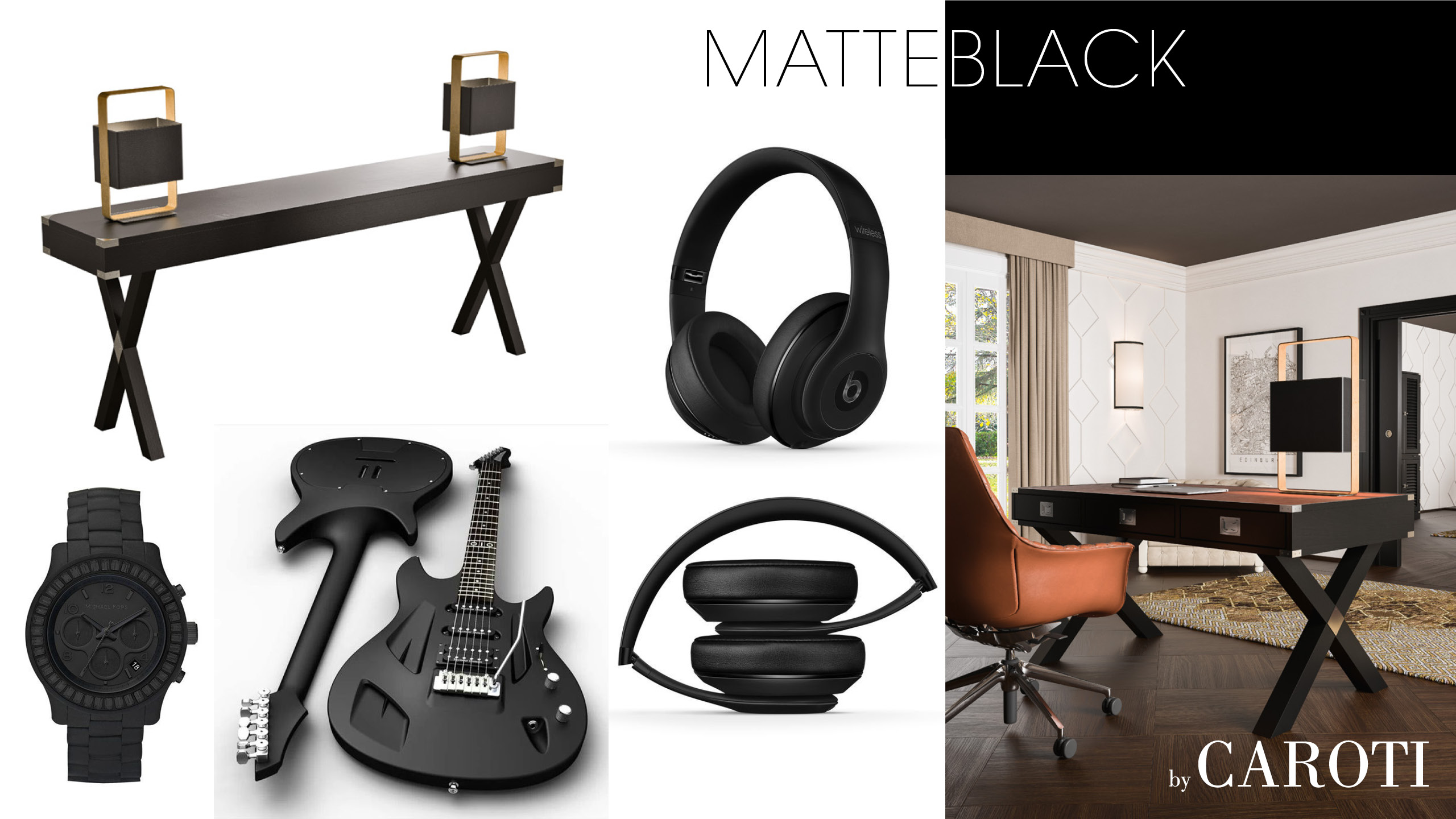 matt black luxury materic music technology office