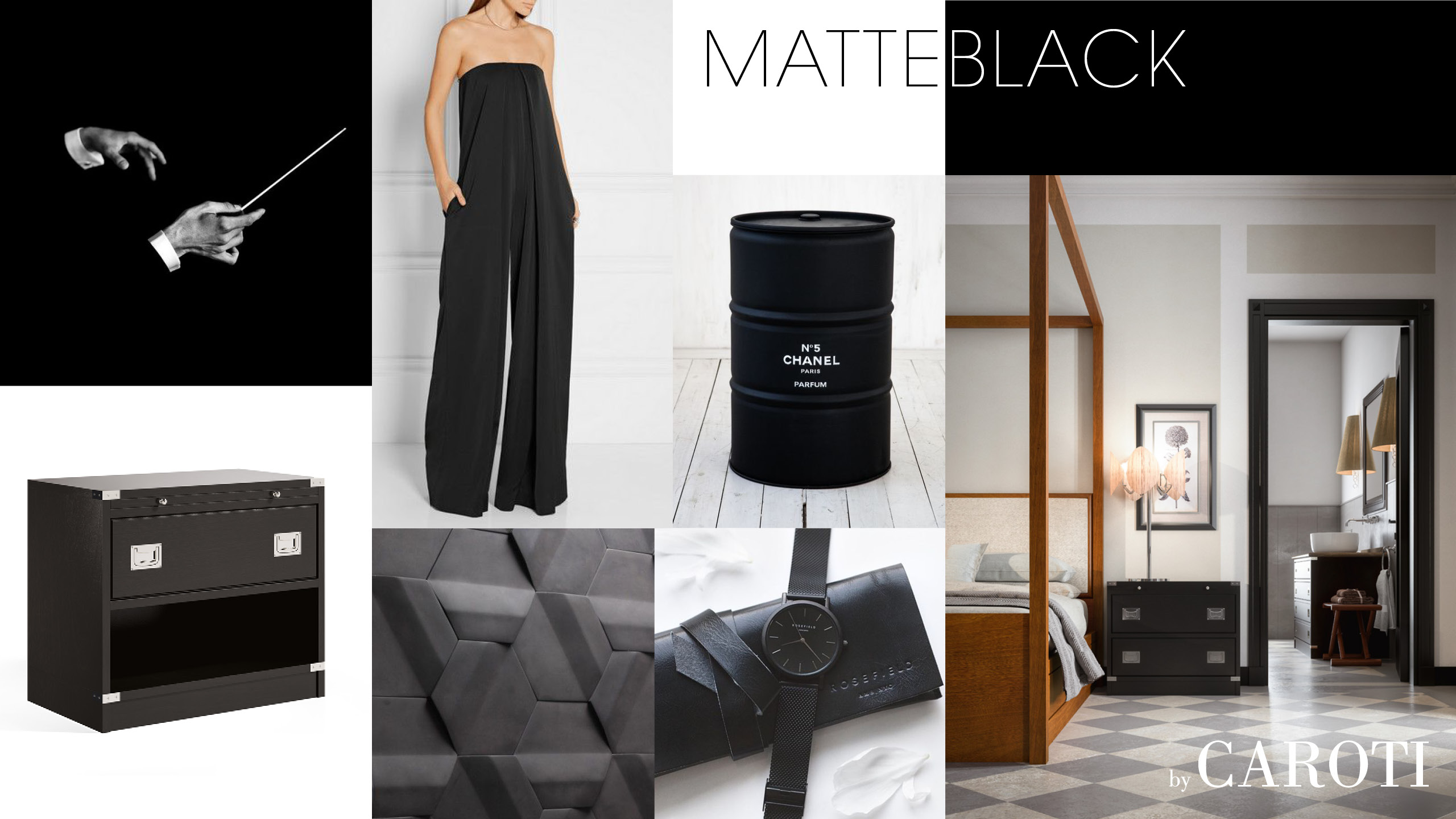 matt black luxury materic bedroom fashion