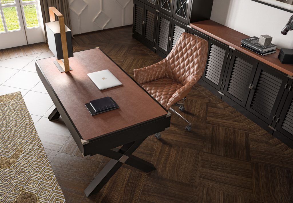 Dolcevita desk with leather top