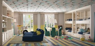playroom con blocco castello e libreria