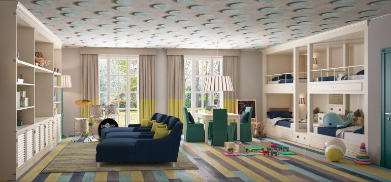 playroom con blocco castello e libreria
