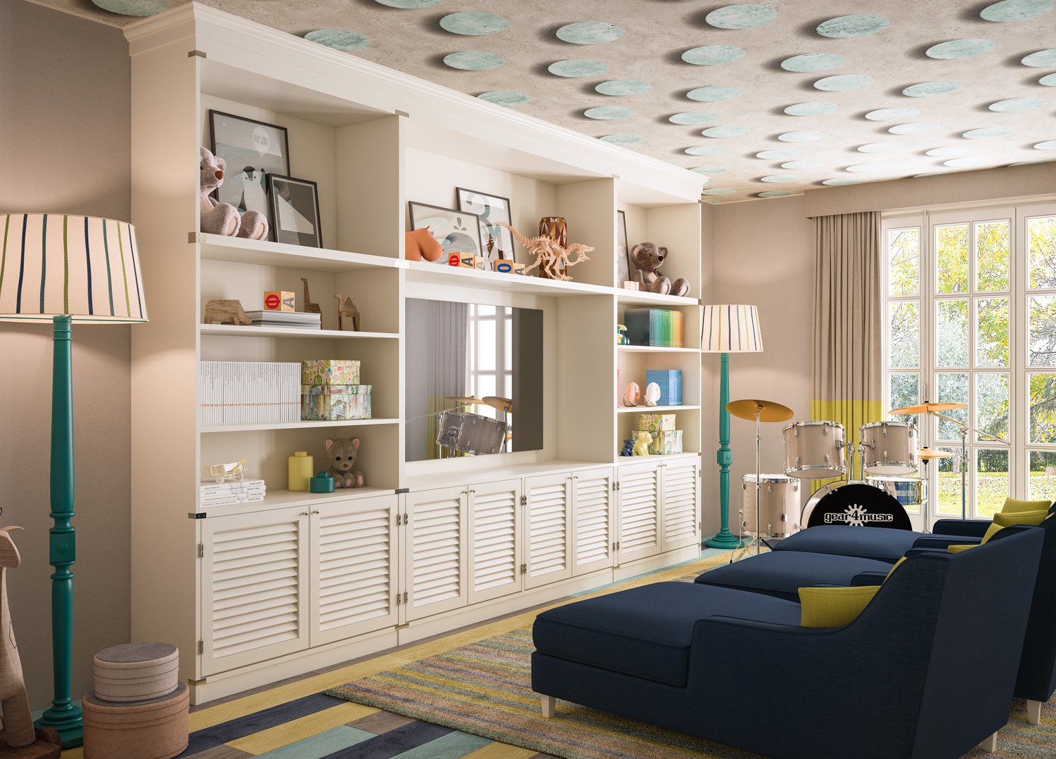 wall unit with bookcase