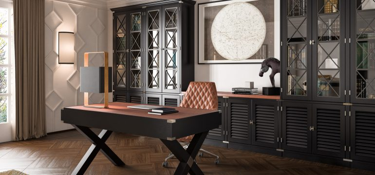 Dolcevita Office Black Mahogany and leather inserts