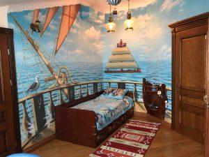 Vela Bed, Natural Mahogany Finish
