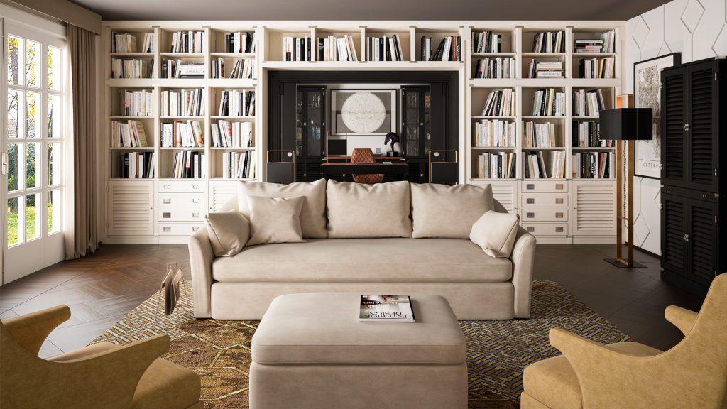 parete attrezzata Zona relax in casa in stile vintage