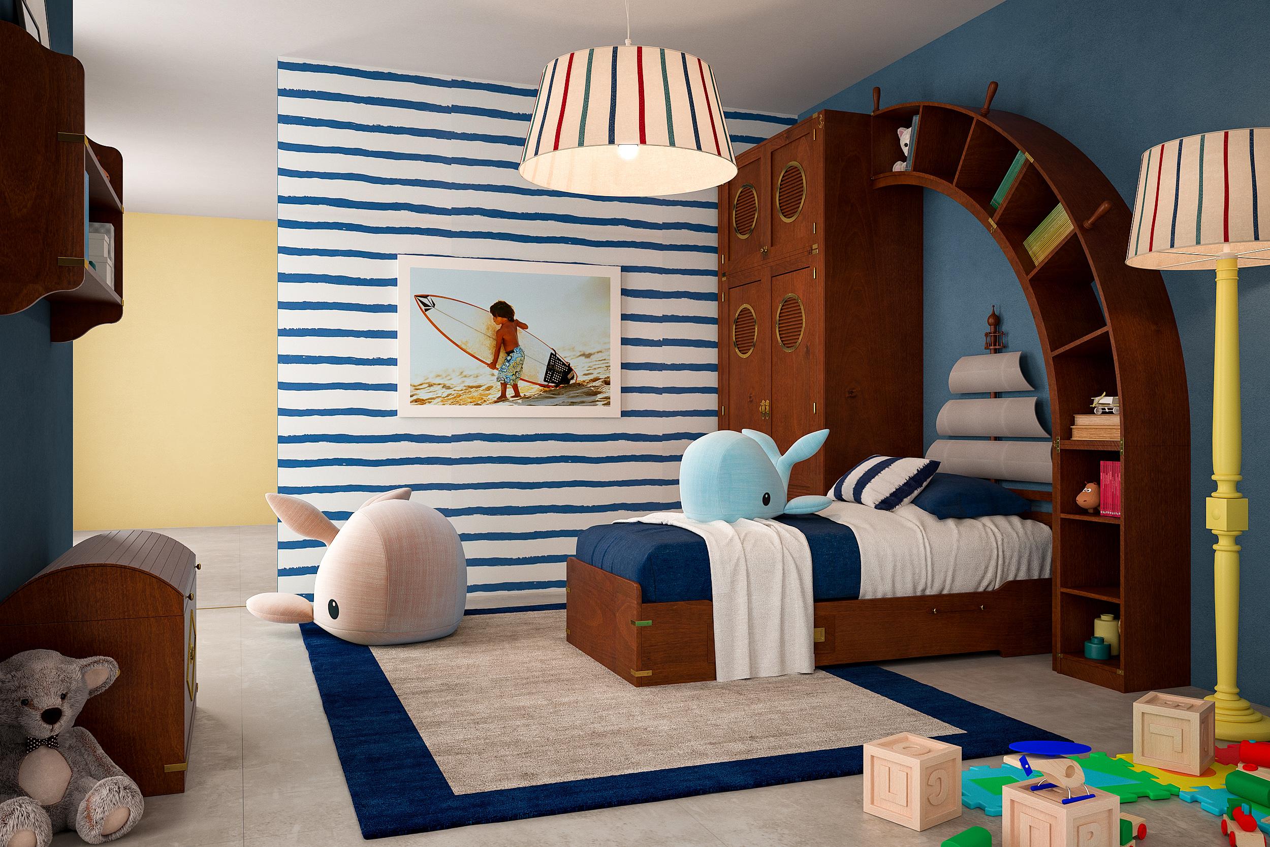 Demì Arkata with bed, Natural Mahogany Finish
