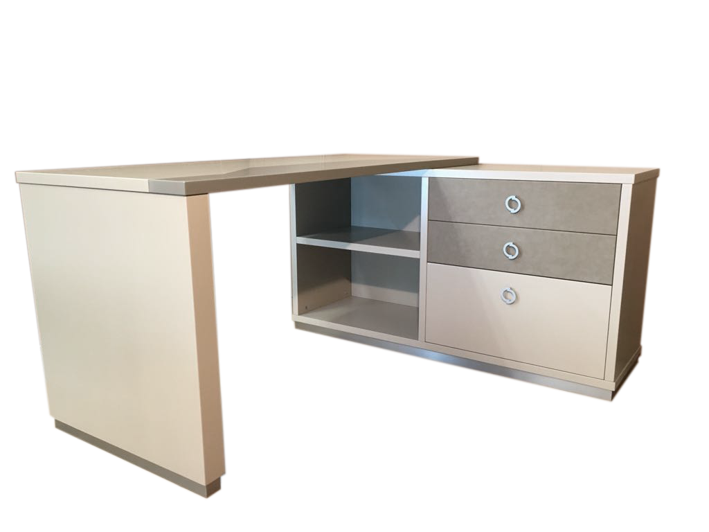 Covered drawers with eco-leather