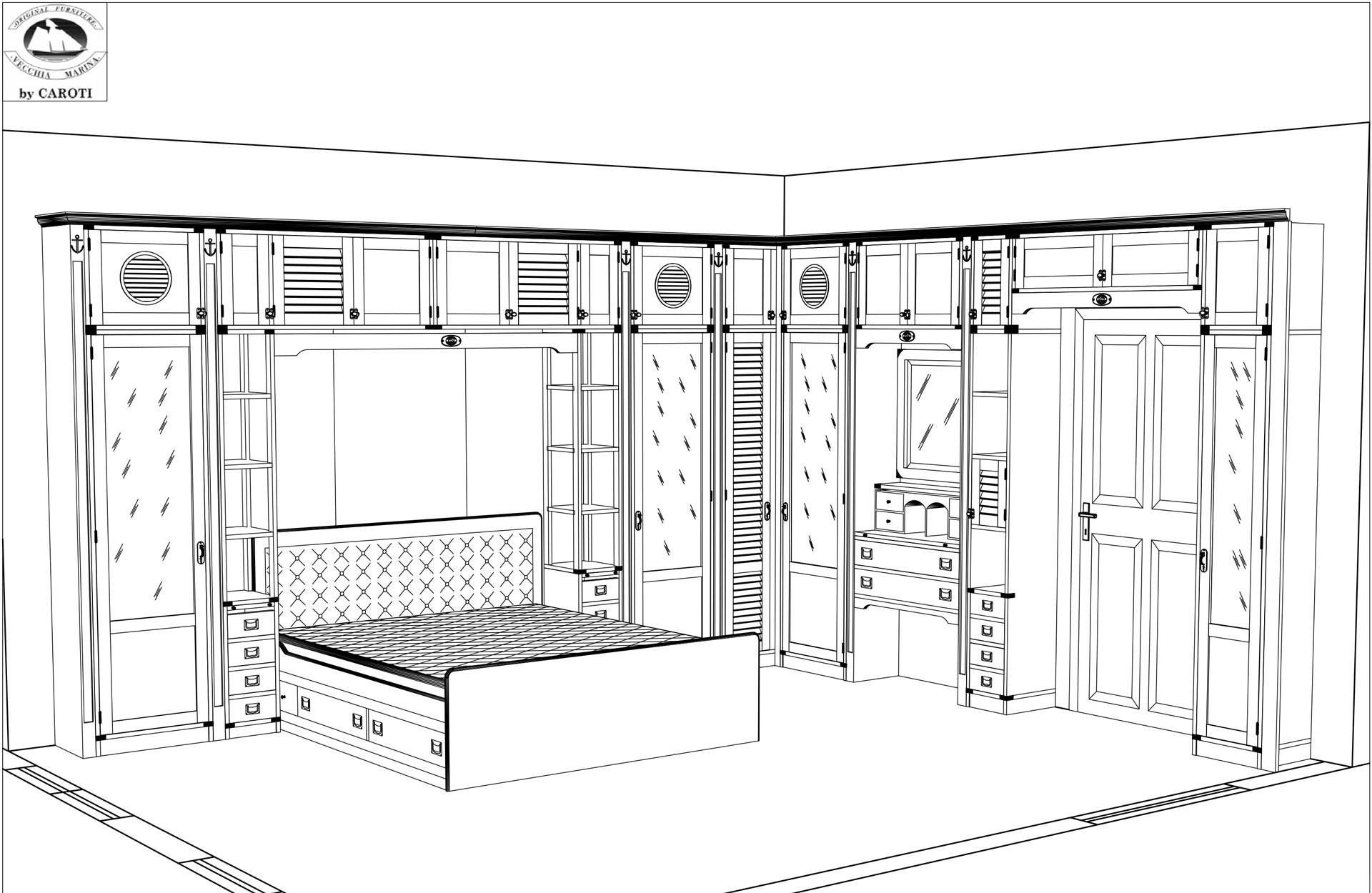 Bridge wardrobe above the door with vanity desk