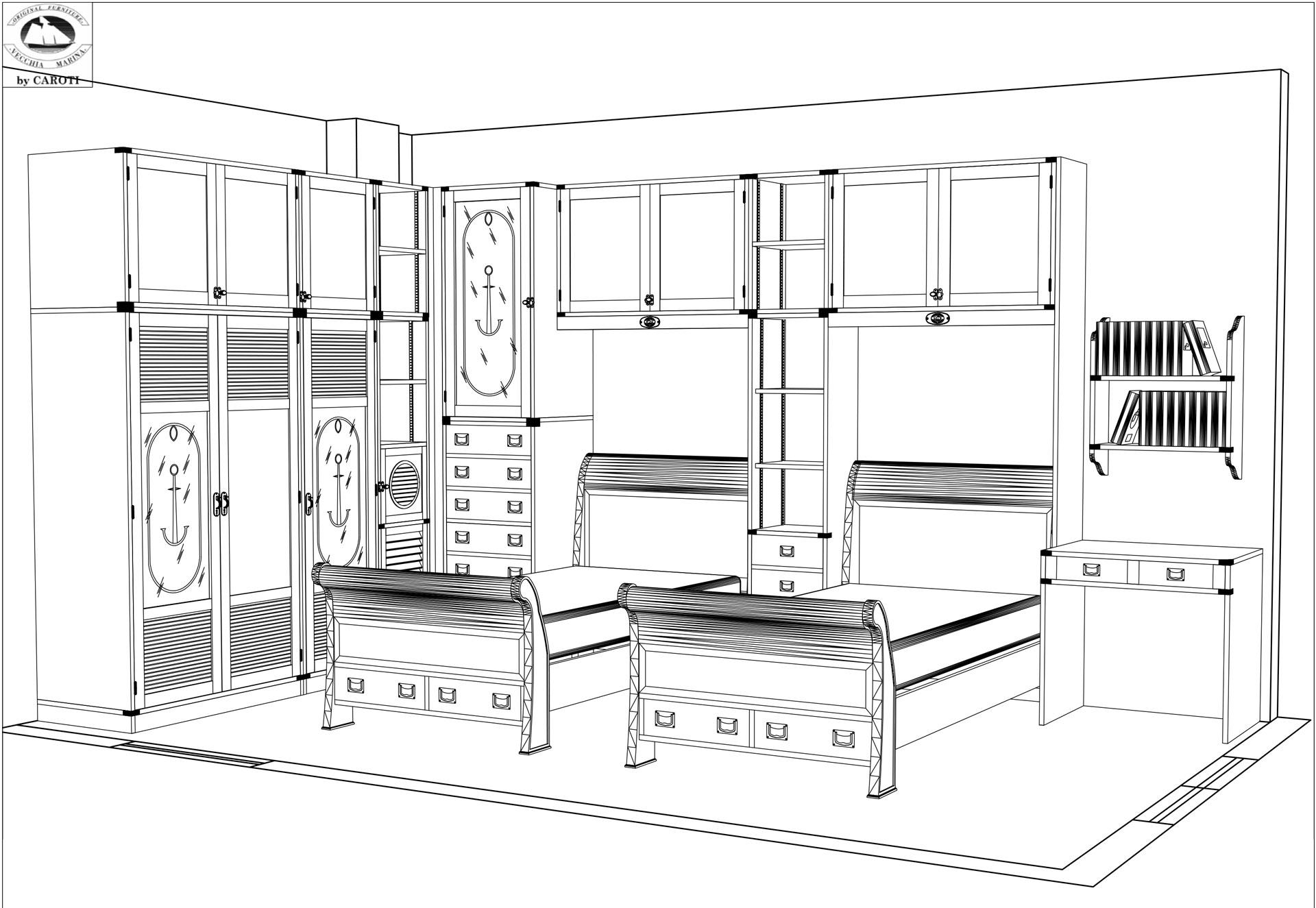 Corner Bridge wardrobe with twin beds
