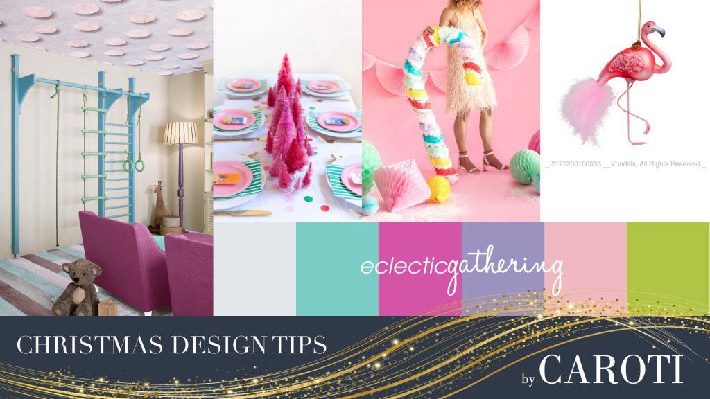 Palestra colorata decorazioni natalizie rosa confetto