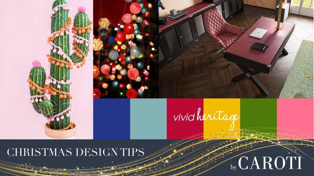 Scrivania Dolcevita Rosso Borgogna decorazioni natalizie colorate