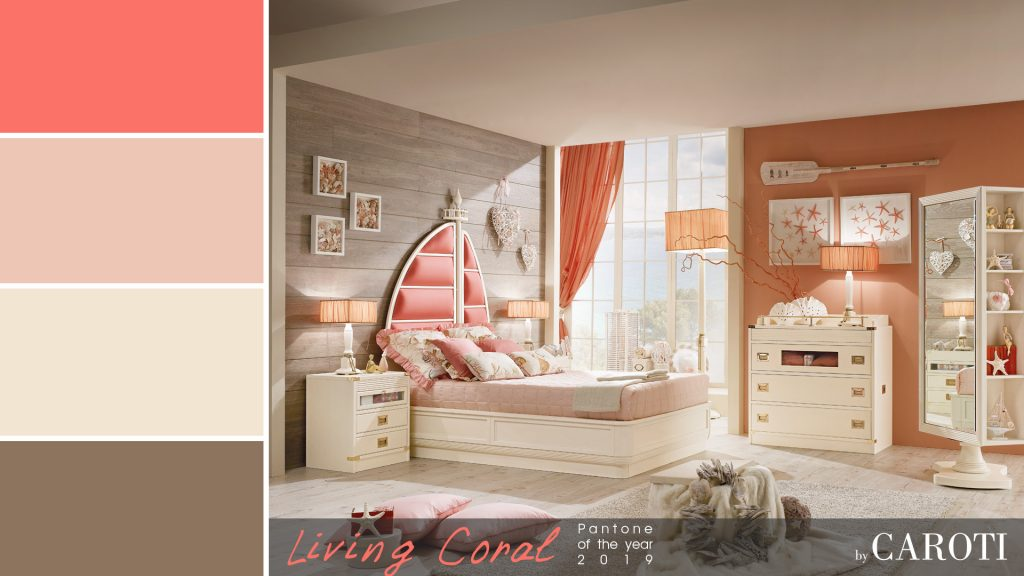Pantone Living Coral color of the year 2019 palette beige taupe ariel caroti