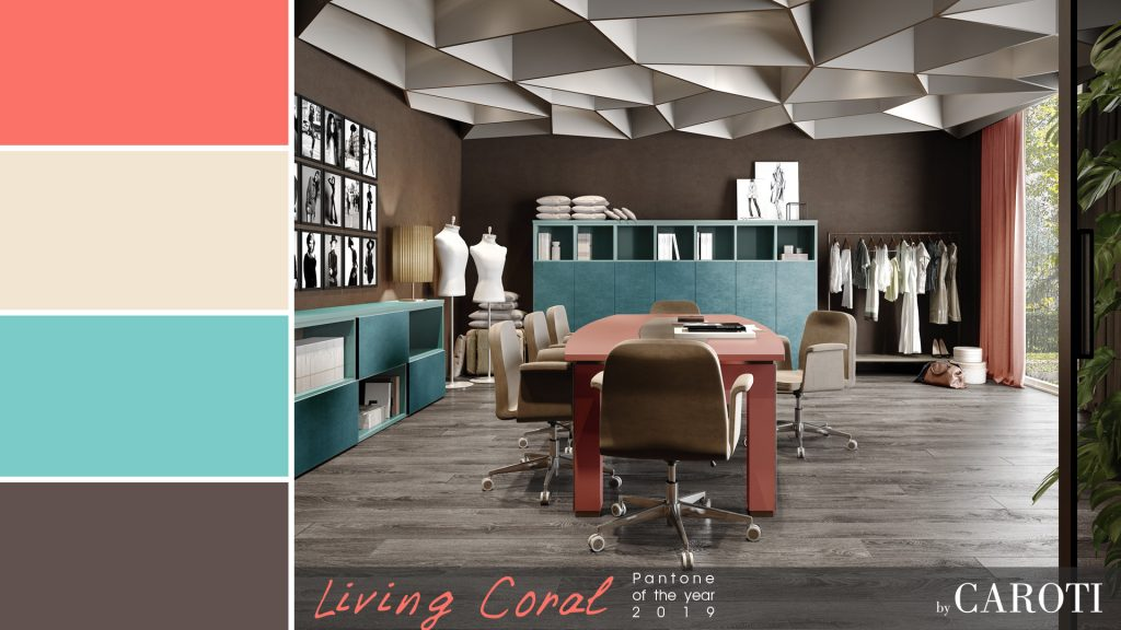 Pantone Living Coral color of the year 2019 palette aqua concept by caroti studio office