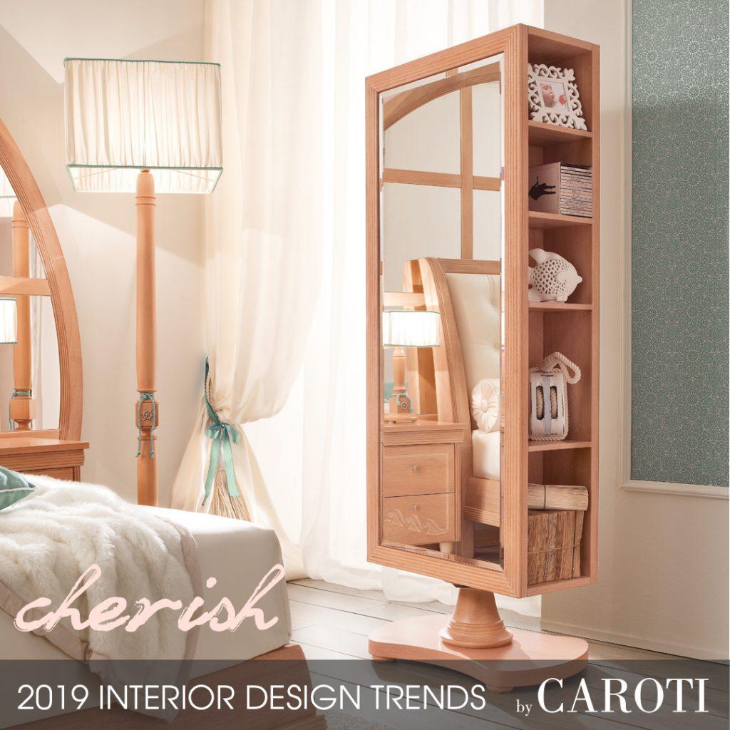 stile per la casa 2019 cherish Mogano Fusion Caroti cameretta appendi abiti giravole con specchio