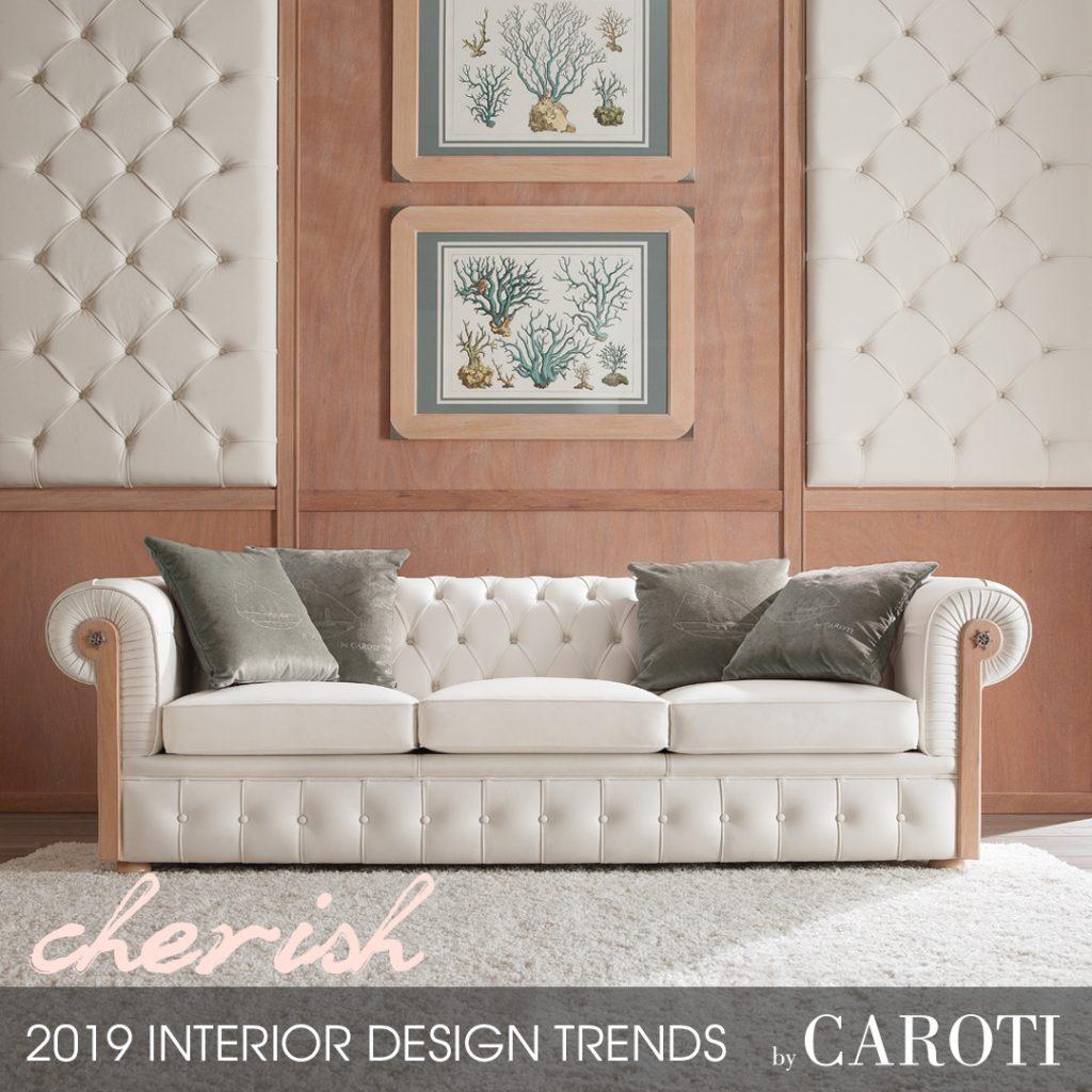 stile per la casa 2019 cherish Mogano Fusion Caroti living divano Chester boiserie