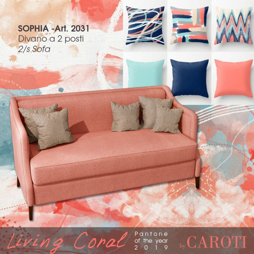 Pantone Living Coral color of the year 2019 palette aqua caroti