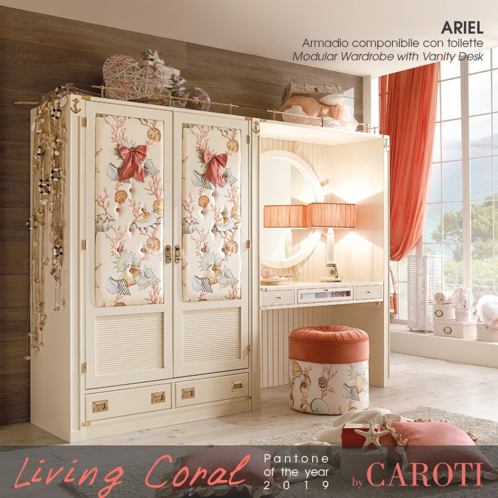 Pantone Living Coral color of the year 2019 palette beige taupe ariel caroti armadio
