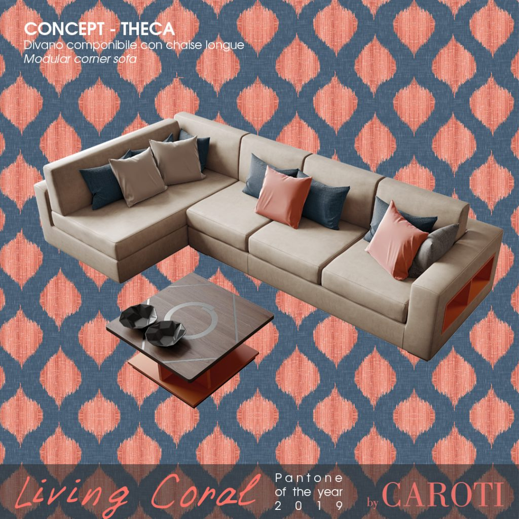 Pantone Living Coral color of the year 2019 palette blue navy concept by caroti living sofa theca