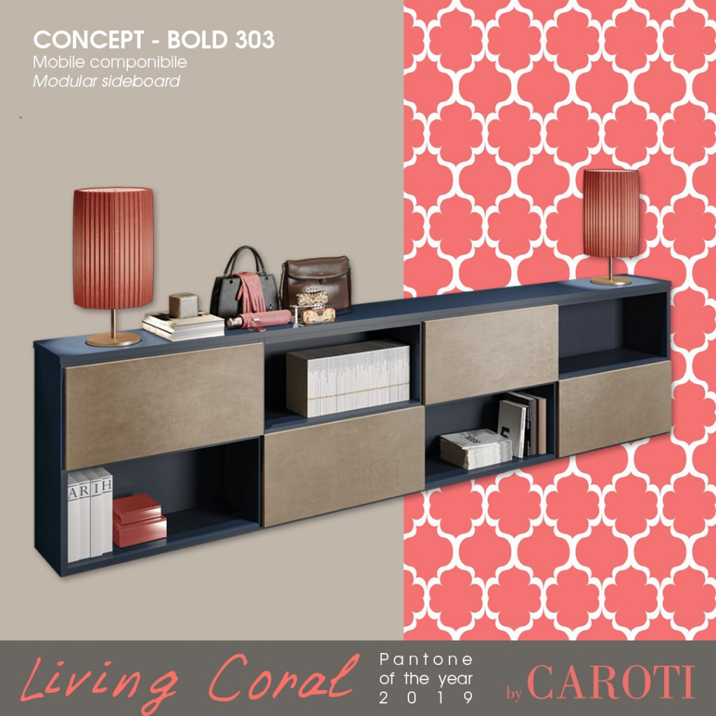 Pantone Living Coral color of the year 2019 palette blue navy concept by caroti