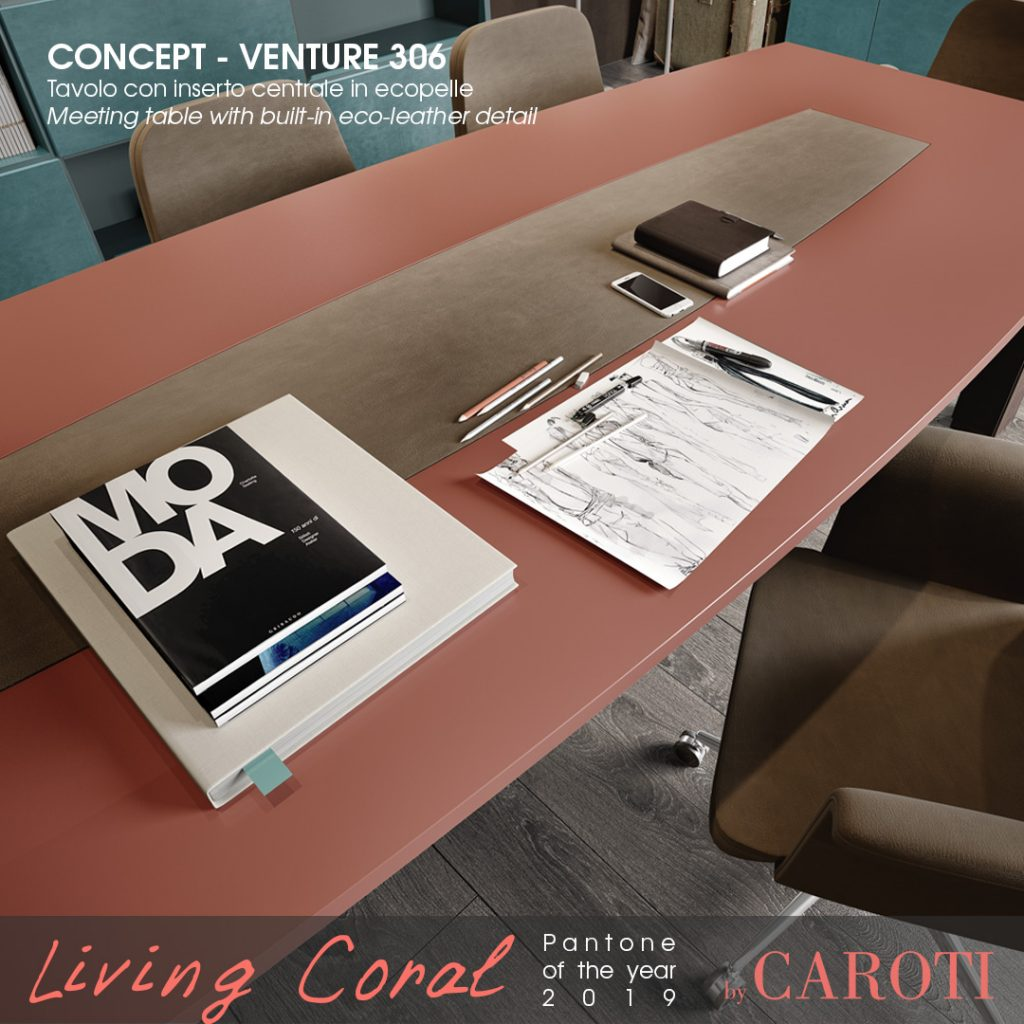 Pantone Living Coral color of the year 2019 palette aqua concept by caroti meeting room table