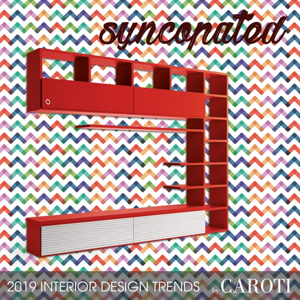 home style inspiration 2019 syncopated mondrian modular wall unit concept by Caroti