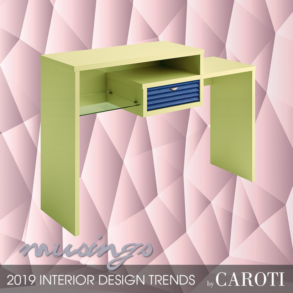 decorate with cool colors Musings palette Pantone entrance cabinet Bond Concept by Caroti