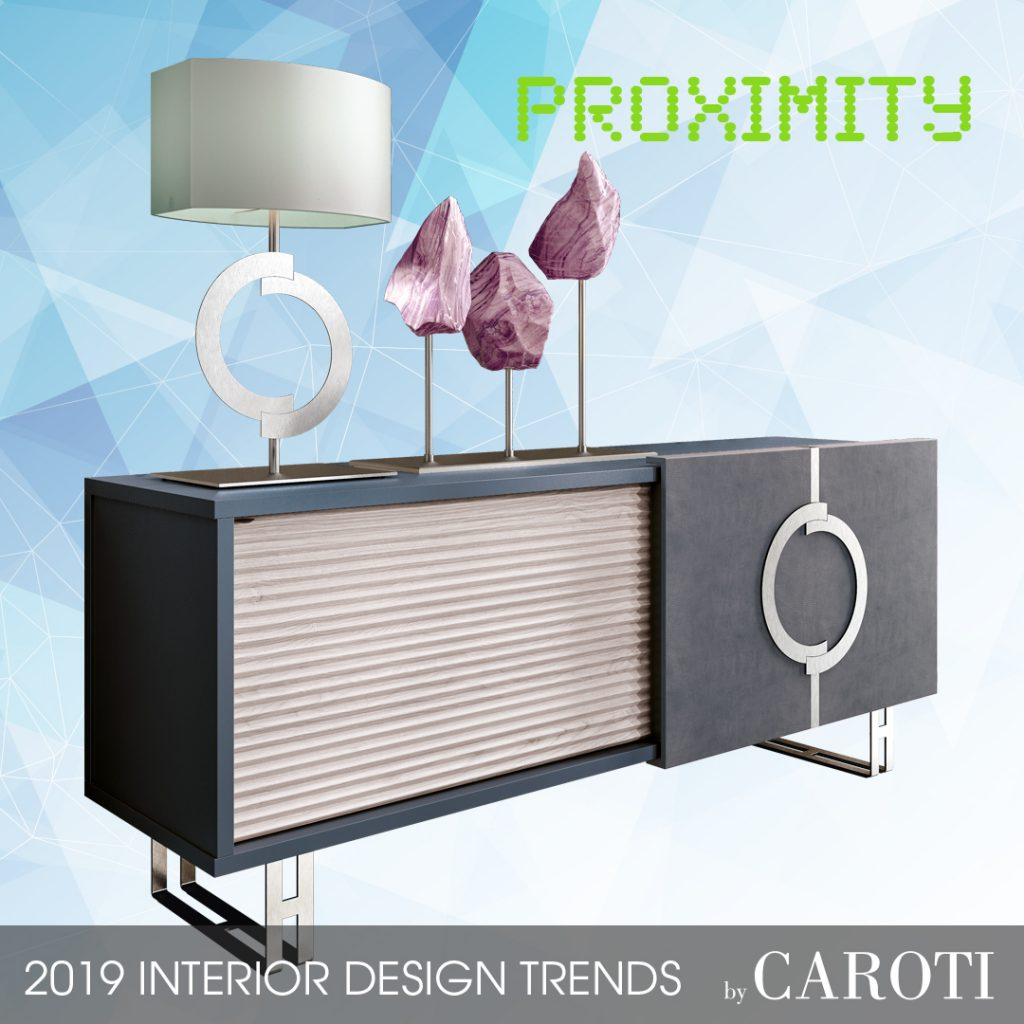 decorate with cool colors Proximity palette Pantone cabinet sideboard concept by caroti furniture in contemporary style
