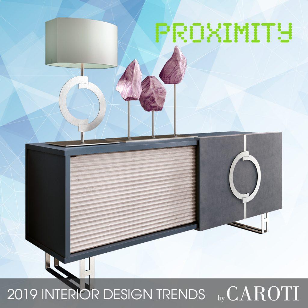 Arredare con i colori freddi Proximity Pantone credenza madia Concept by Caroti