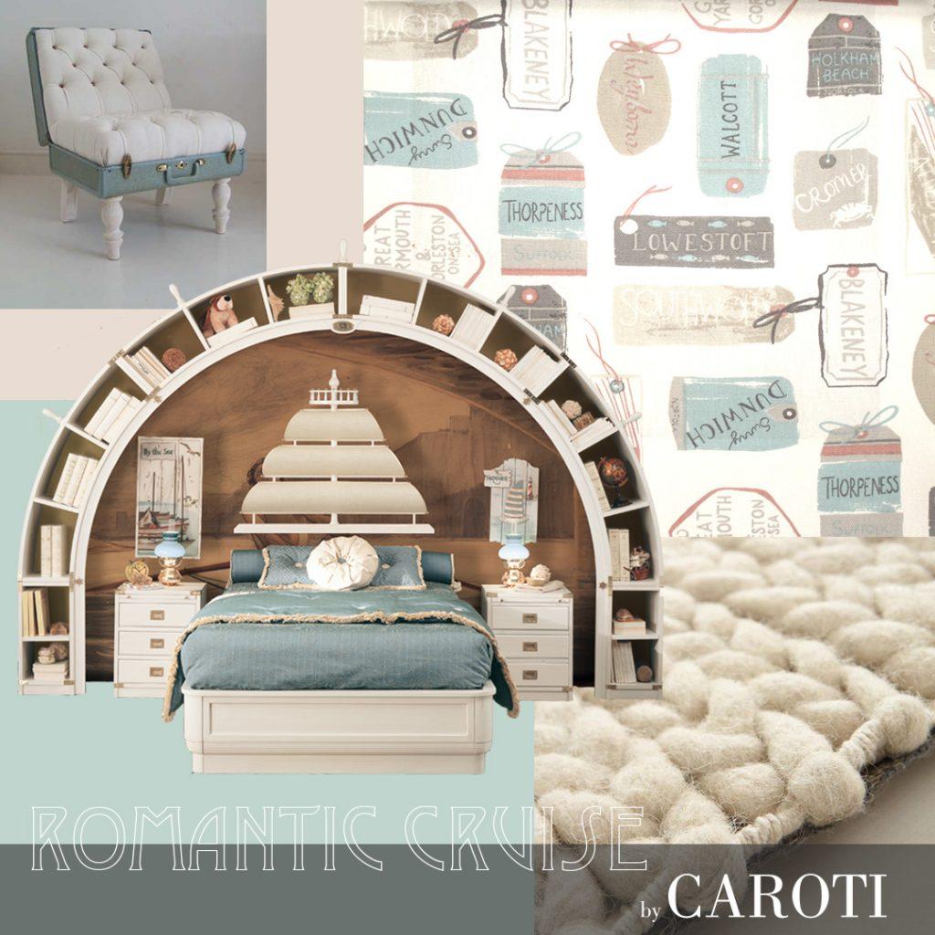 Arredare la camera dei bambini con i colori pastello letto Vela a ponte con libreria Arkata vecchia marina by caroti