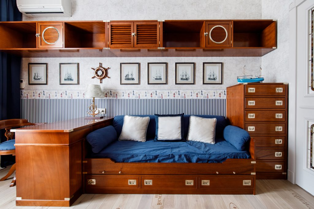 Modular bridge cabinet with bed