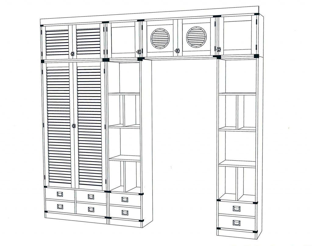 technical plan of Modular bridge cabinet