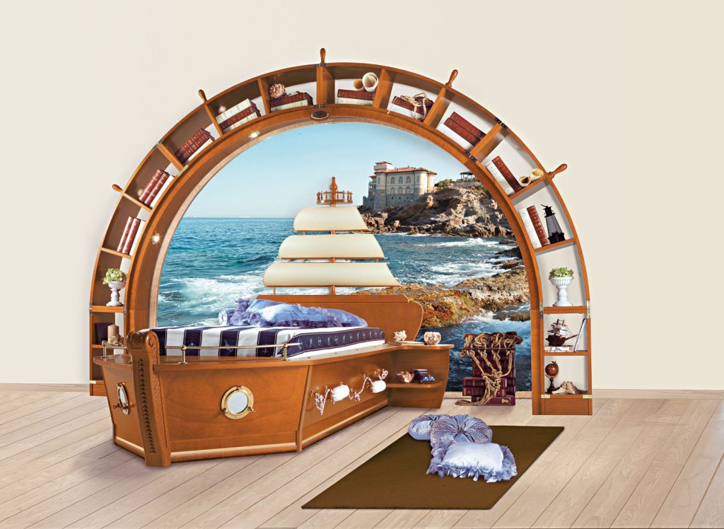 boat-bed with sail headboard