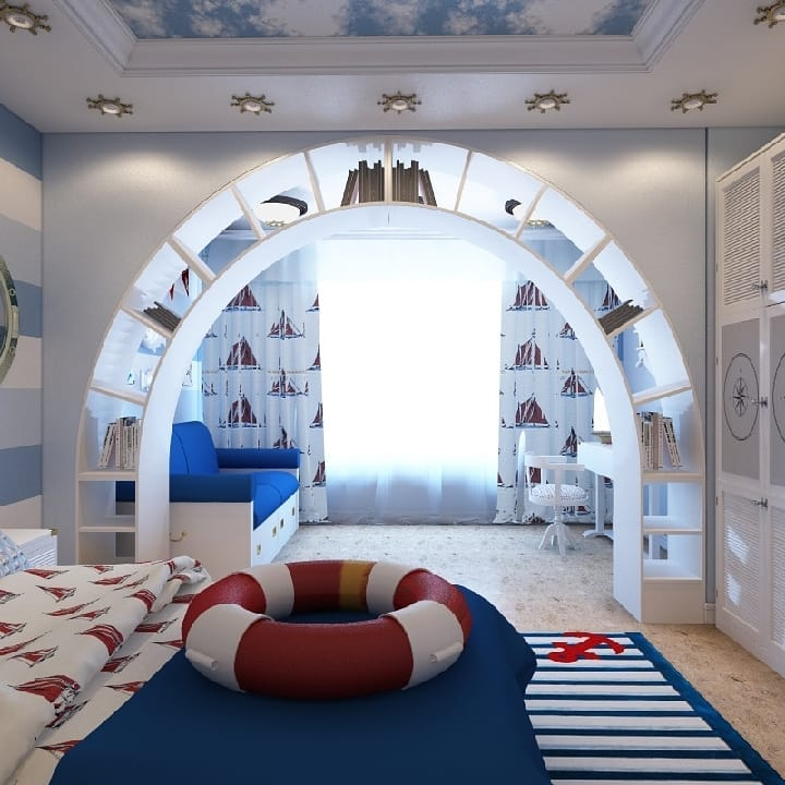 arched double sided bookcase kids bedroom