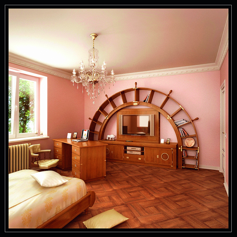 arched bookcase with tv-stand