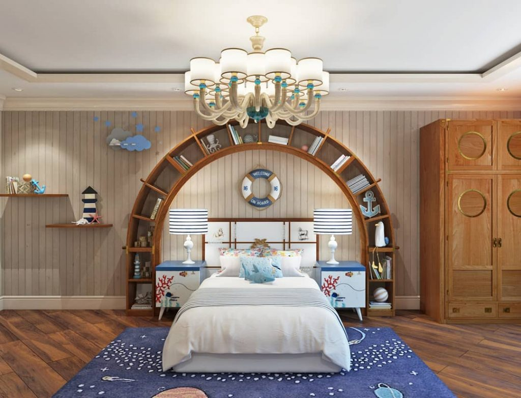 arched bookcase with bed