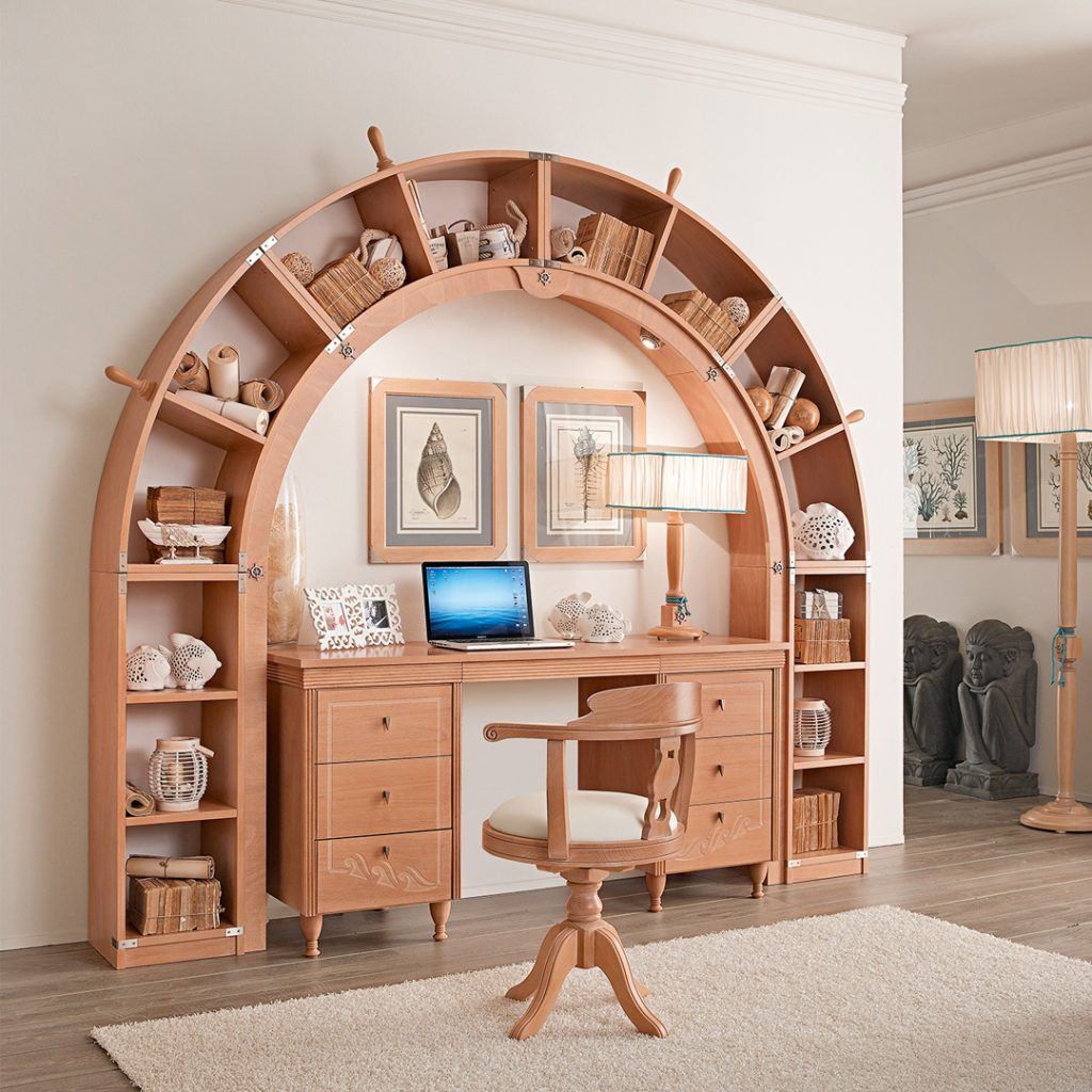 arched bookcase above desk