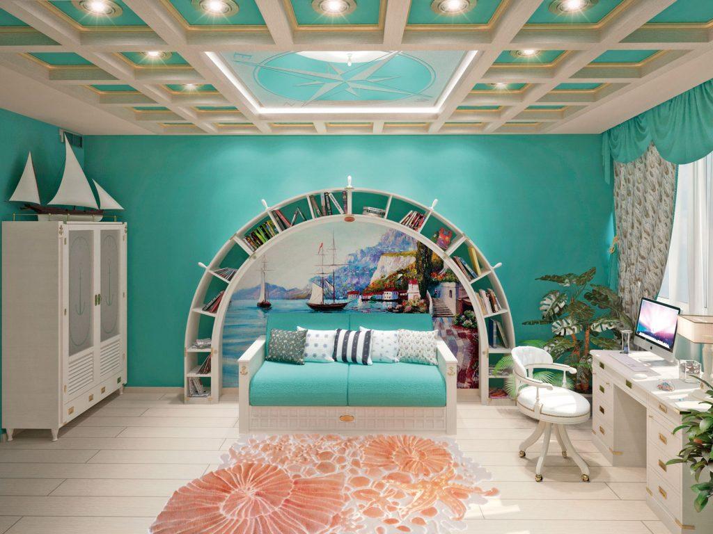 libreria ad arco con divano