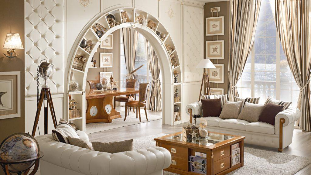 libreria ad arco bifacciale living
